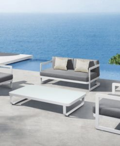 averon modern white outdoor sofa set