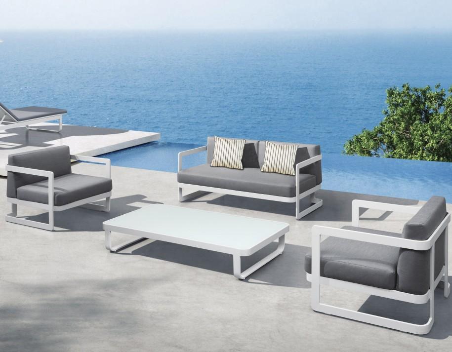 Averon Modern White Black Outdoor Sofa Set