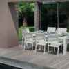 August Dining extendable table chairs white batyline