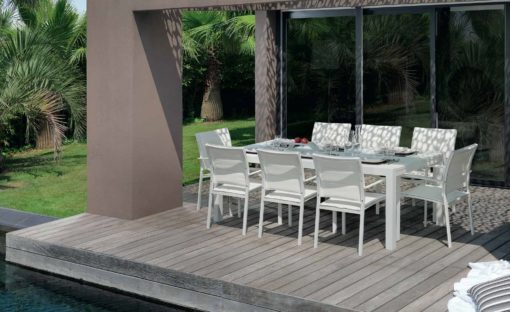 August Dining extendable glass modern table chairs white batyline stack