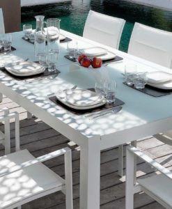 August Dining extendable glass modern table chairs white batyline