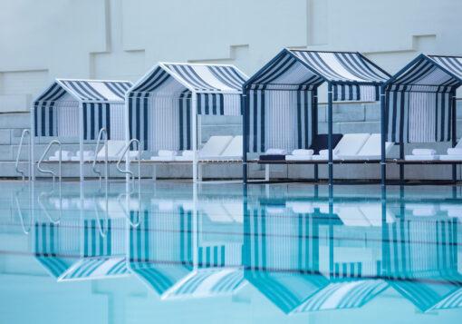 Cabana daybed modern luxury custom hotel ferrari blue orange white 3