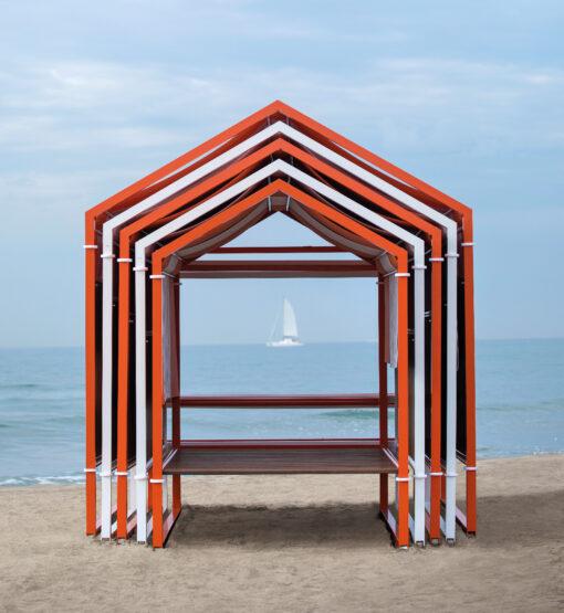Cabana daybed modern luxury hotel ferrari blue orange white stripe (1)