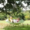 cozy modern hammock swing tree camp glamp green hang 2
