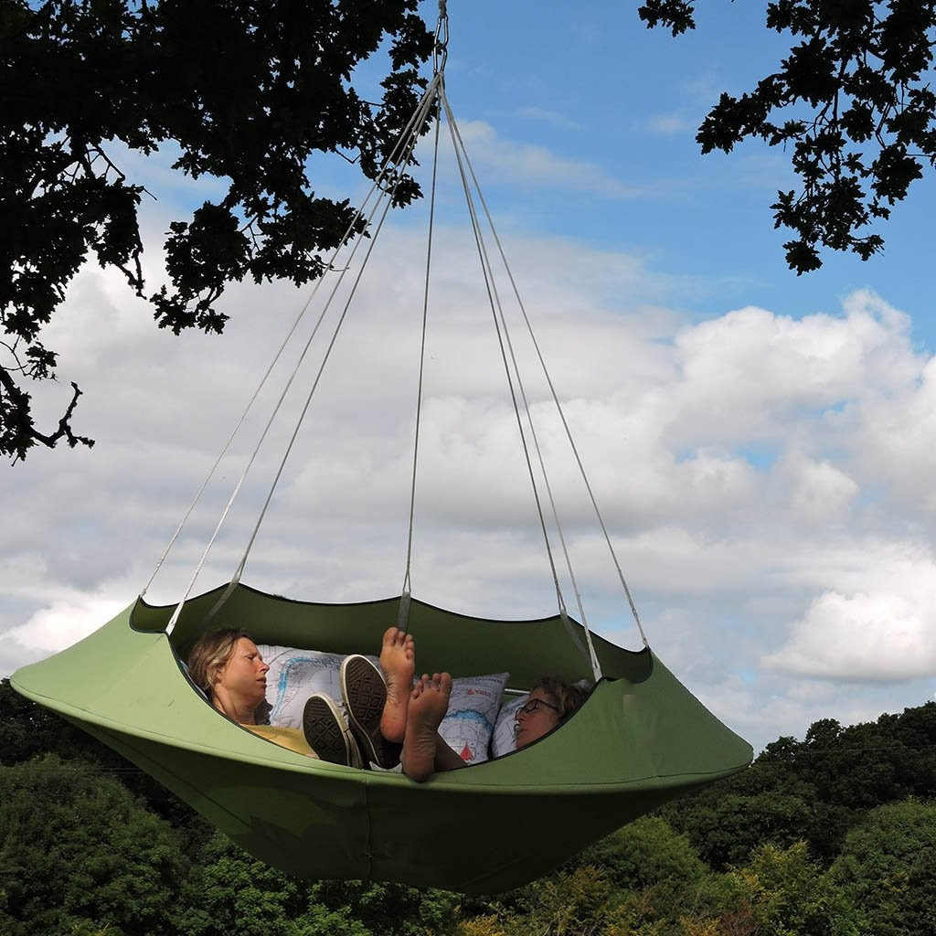 Cozy Modern Hammock Swing Tree Camp Glamp Green Hang on Floating Lounge Chair
