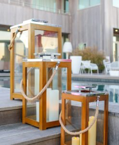 Lantern Luxury Outdoor Teak Rope Stainless Steel Glass Residential Indoor Hospitality Nature Home Decor