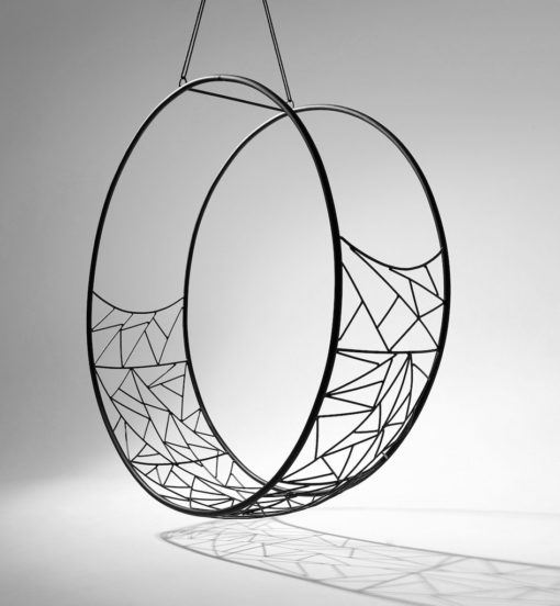 Round Black abstract modern hammock hanging designer swing chair daybed lounge hotel contract furniture luxury 2