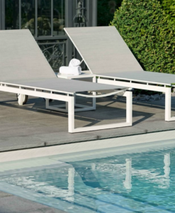 Modern Stackable Aluminum Textilene Chaise Lounger W Wheels