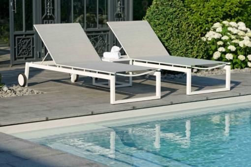 Aberdeen Chaise Lounger Luxury Outdoor Contract Furniture Hospitality Commercial Spas Hotel Batyline Aluminum Batyline Stock Phoenix Arizona CA Miami Las Vegas Modern