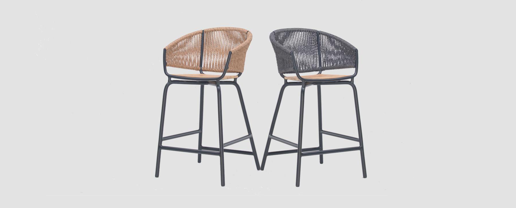 Enjoyable Modern Aluminum Rope Weave Bar Stool Organic Quick Dry Hand Bralicious Painted Fabric Chair Ideas Braliciousco