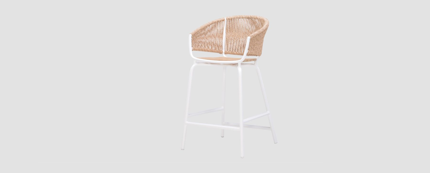Ake Weave Barstool Rope Luxury Restaurants Cord Outdoor Furniture Teak Seat Hotels Contract Hospitality Modern Garden