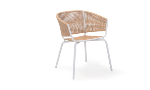 Ake weave dining chair modern contract rope outdoor restaurants hospitality aluminum cord teak furniture beige