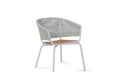 Ake weave dining chair modern contract rope outdoor restaurants hospitality aluminum cord teak garden furniture