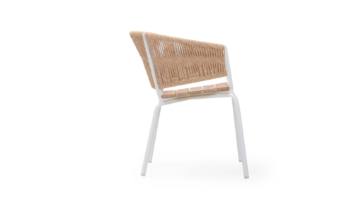 Ake weave dining chair modern contract rope outdoor restaurants hospitality aluminum cord teak seat custom furniture