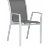 Alec Dining Chair Modern Aliuminum Batyline Stackable Contract Hospitality Restaurant Commercial Garden Patio Outdoor Furniture CA Miami Phoenix Arizona Boston White Frame Grey