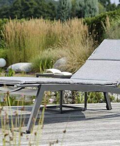 Modern Powder Coated Aluminum Textilene Chaise Lounger