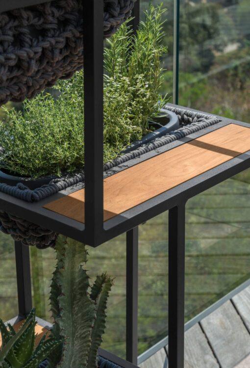Jessi Modern Outdoor Planter Rope Teak Aluminum Contract
