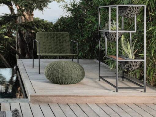 Jessi Rope Planter Teak Aluminum Luxury Outdoor Contract Residential Furniture Pool Indoor