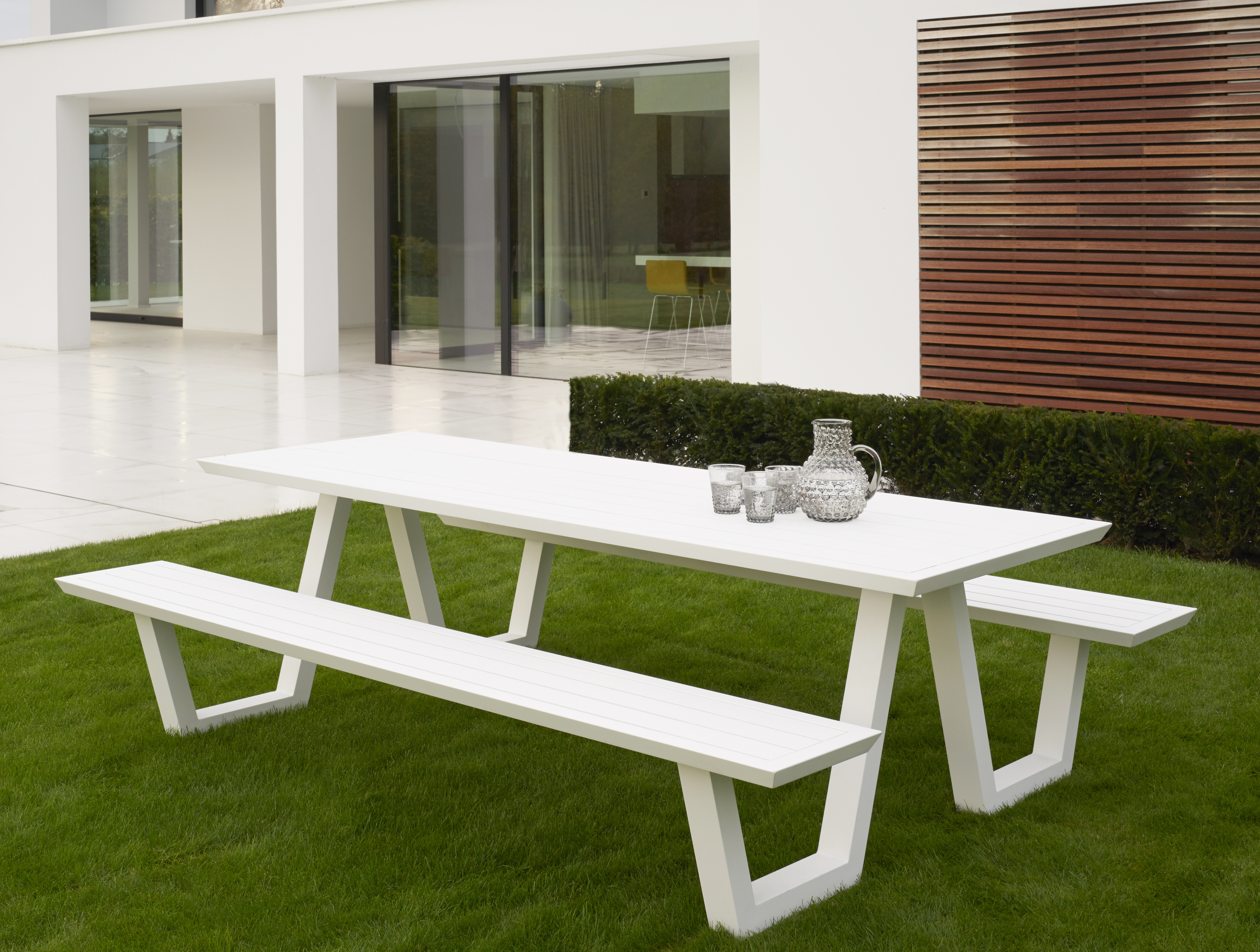 Peachy Aluminum Picnic Table Modern Power Coated Outdoor Furniture Ibusinesslaw Wood Chair Design Ideas Ibusinesslaworg