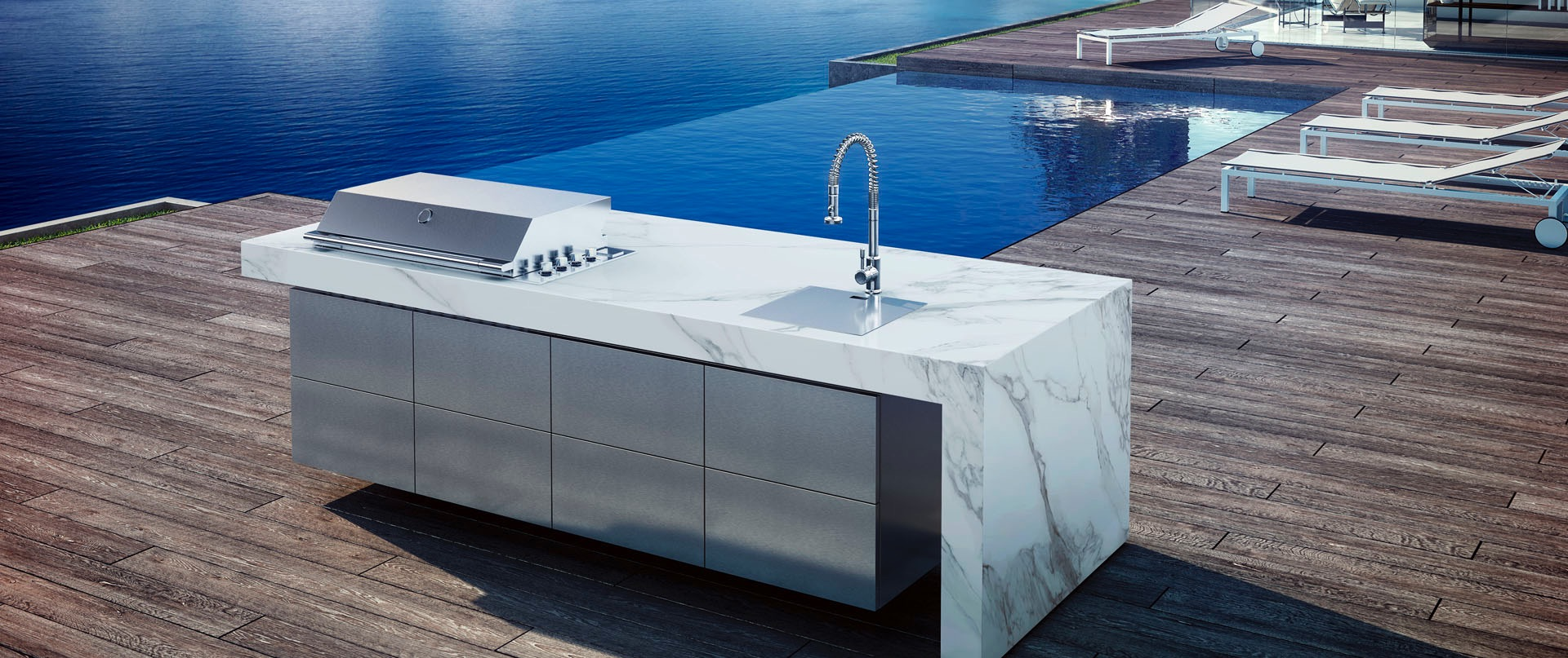 Sleek Altea Granite Gas Custom Grill & Kitchen Island - Couture Outdoor