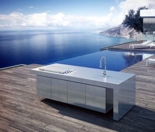 Sleek Altea Kitchen Island BBQ Gas Grill Modern Outdoor Design Stainless Steel Elite Outdoor Furniture Hamptons