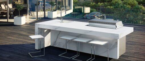 Sleek Altea Kitchen Island Marble Luxury BBQ Gas Grill Bar Modern Outdoor Elite Furniture
