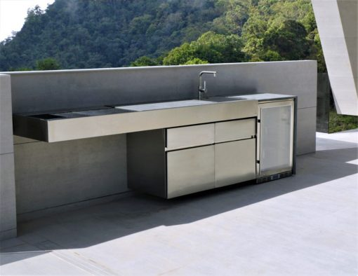 Sleek Cantilever Top Gas & Charcoal BBQ Grill Over