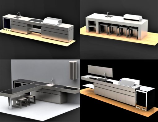 Sleek Cantilever Top Gas & Charcoal BBQ Grill custom outdoor kitchen island stainless steel 2
