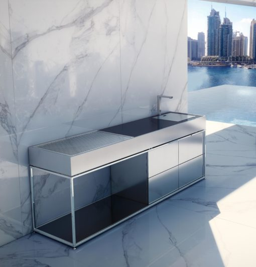 Sleek Island BBQ Charcoal Grill Stainless Steel Luxury Outdoor Kitchens
