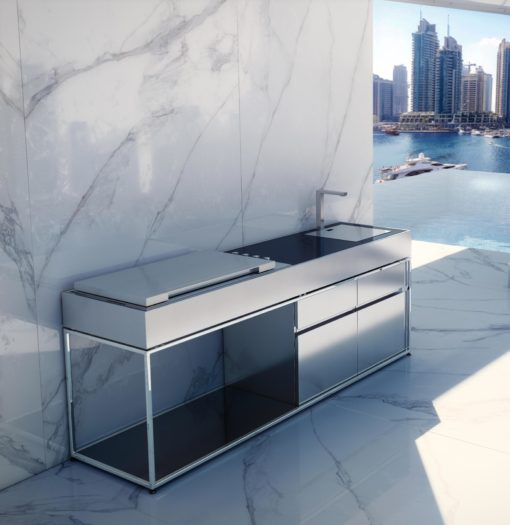 21 Sleek And Modern Metal Kitchen Designs: Sleek Kitchen Island BBQ Gas Grill
