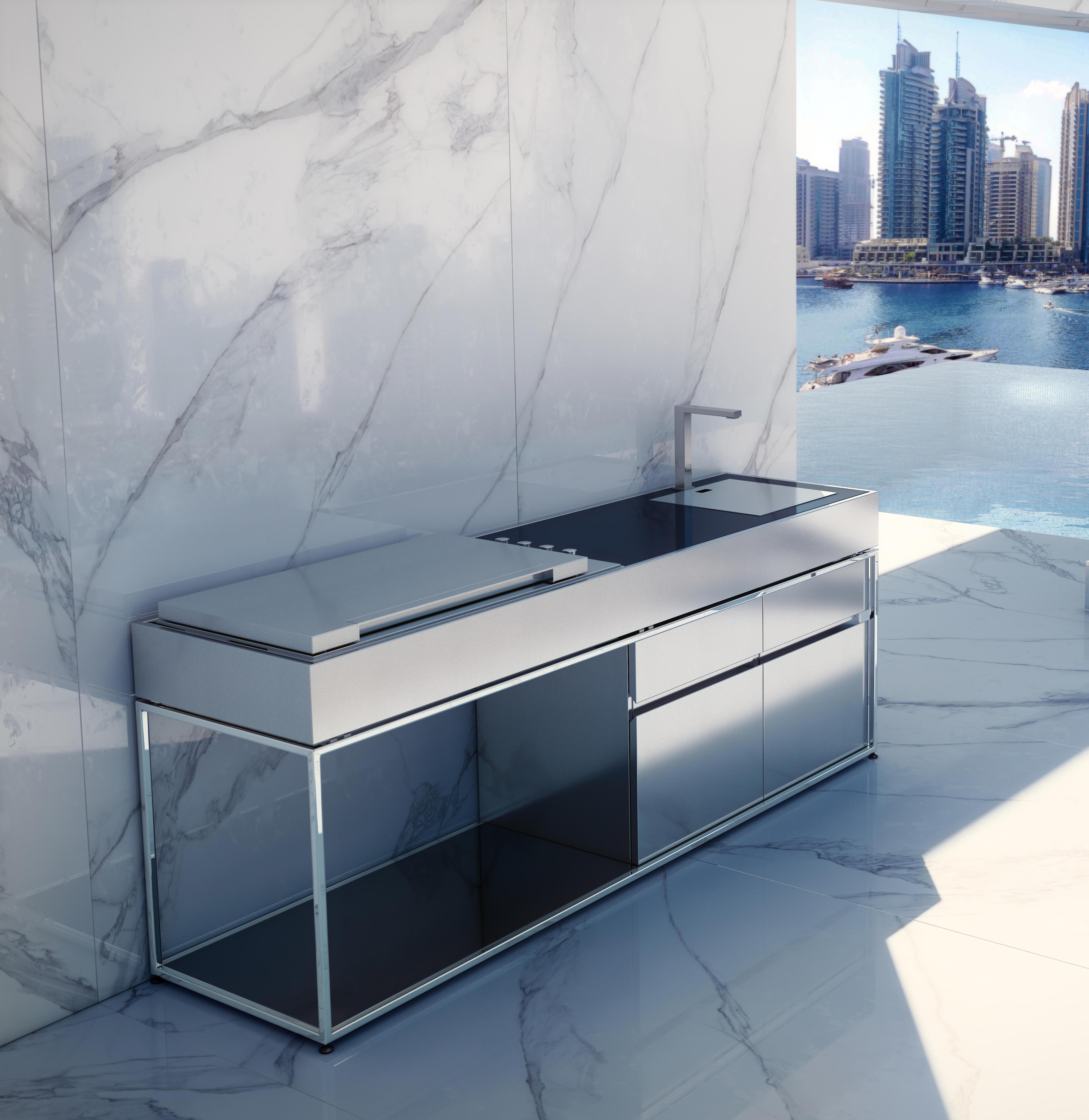 Sleek Adon Kitchen Island Gas & Charcoal BBQ Grill - Couture ...