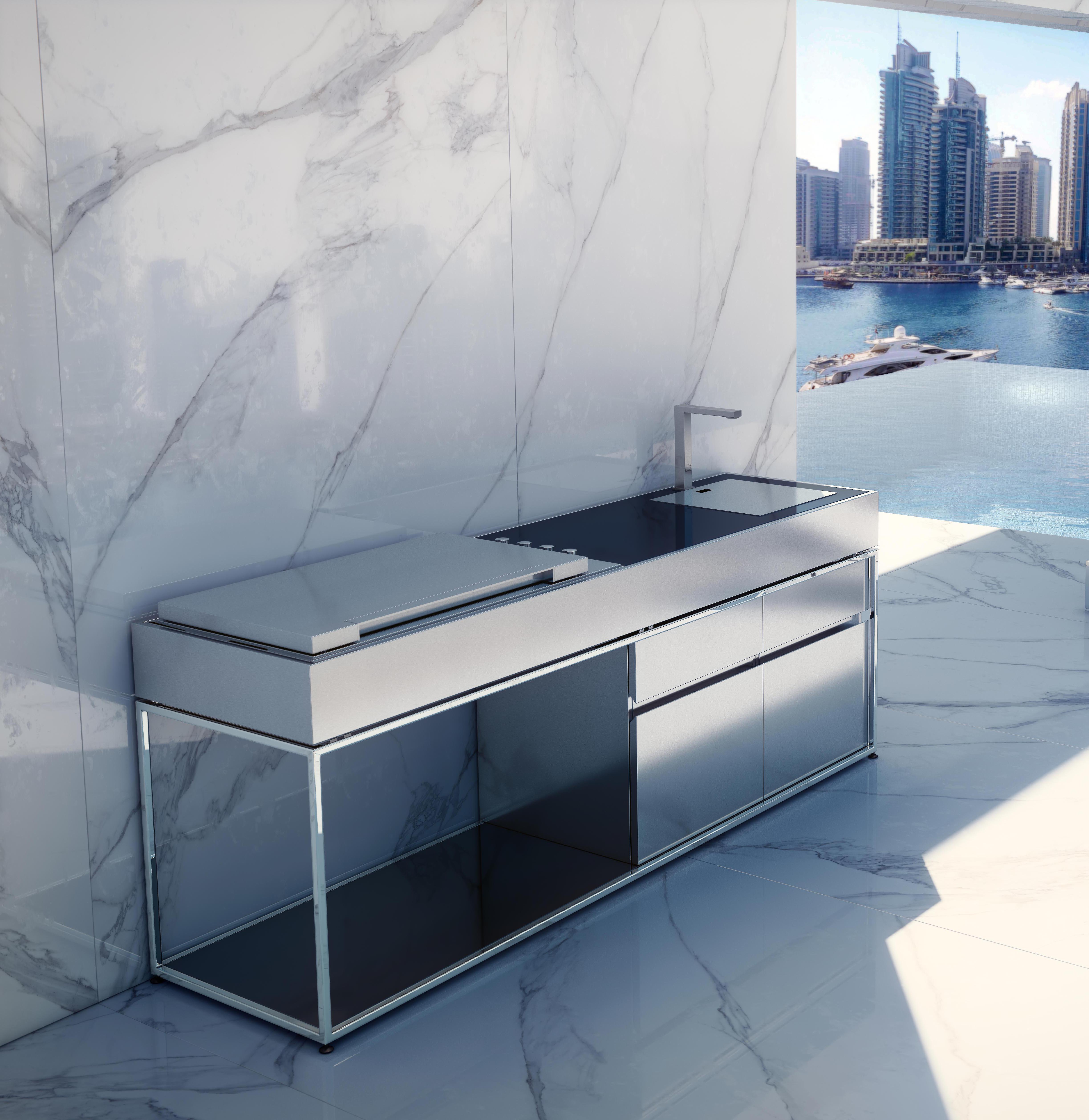 Sleek Ideas For Kitchen Design With Islands: Sleek Kitchen Island BBQ Gas Grill