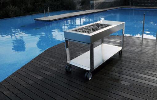 Sleek high end luxury Spanish design modern elegant outdoor kitchen BBQ