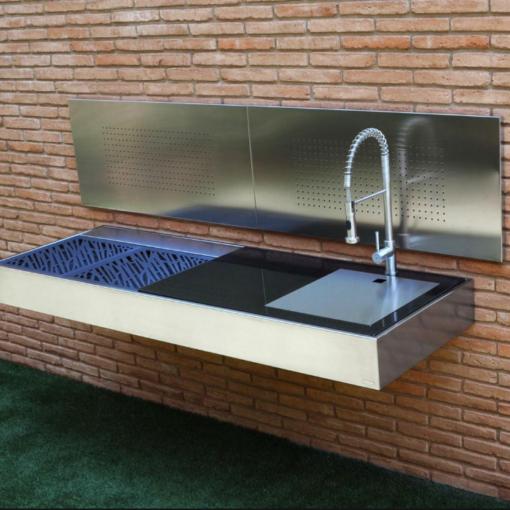 cantilever wall mount modern design sleek high end luxury top gourmet chef outdoor kitchen island best bbq grill awards