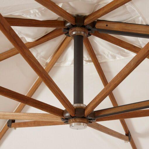 modern teak umbrella cantilever 12x12 tilt ground mount natte sunbrella