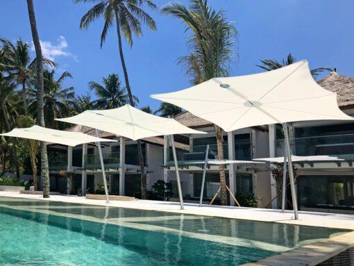 nikki beach pool modern cantilever umbrella marbella ibiza dubHudson 1 Cantilever Umbrella Adjustable Tilt 360 Rotation