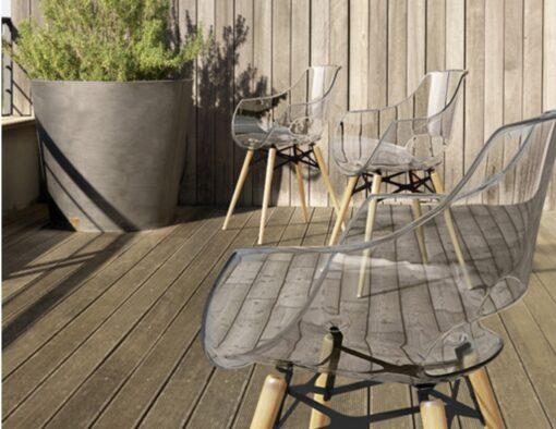 Austin injection mould polycarbonate clear ghose chair teak iroko oak wood dowel leg like vitra eames daw herman miller