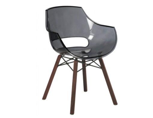 Austin injection mould polypropylene transparent ghost chair grey plastic teak iroko oak wood dowel leg like vitra eames daw herman miller