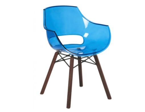 Austin injection molded polypropylene transparent turquoise plastic teak iroko oak wood dowel leg like vitra eames daw herman miller