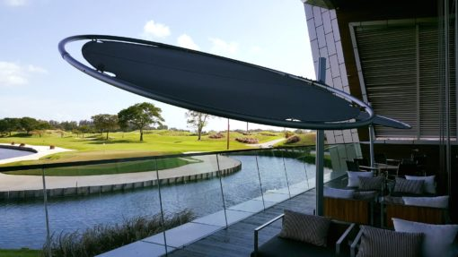 Celeste modern 360 rotating umbrella wind resistance luxury outdoor residential contract resort country clubs Mexico Caribbean