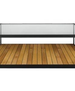 Modern Powder Coated Stainless Steel Teak Glass Top Coffee Table