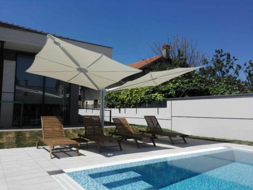 Hudson Luxury Pool Patio Umbrella Modern 2 canopies Single Polo Wind Resistance Tilt Positions Residential Hotels Resort