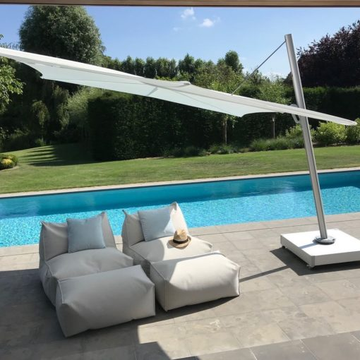 Hudson Single Cantilever 360 Umbrella Luxury Outdoor Contract Forward Leaning Marine grade Residential pool Furniture