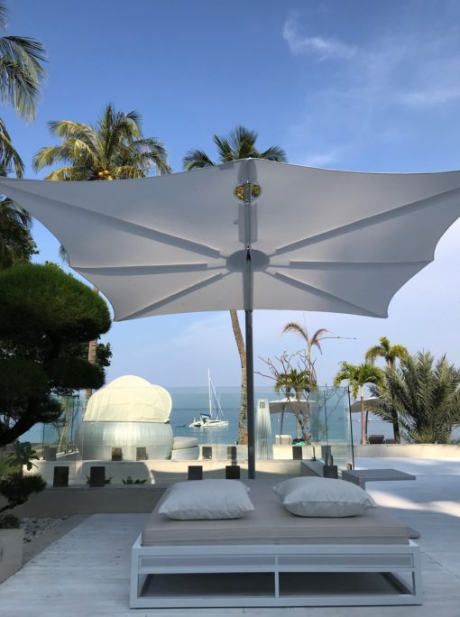 Hudson Single Cantilever 360 Umbrella Luxury Outdoor Contract Forward Leaning Marine grade Residential pool Furniture Design