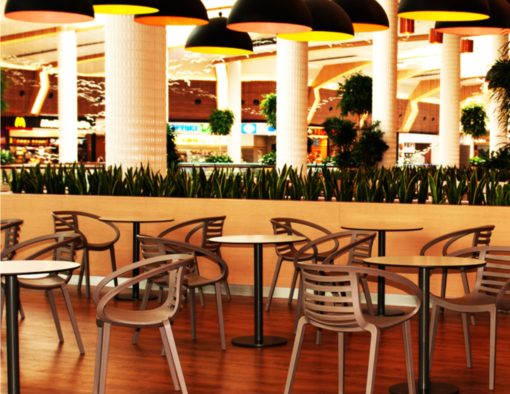 ambo dining chair vegas orlando mall food court public seating polypropylene all weather stack