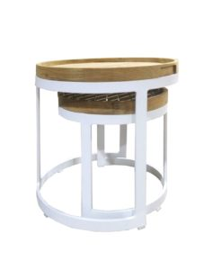 aron round nest side table teak white black ceramic marble 2