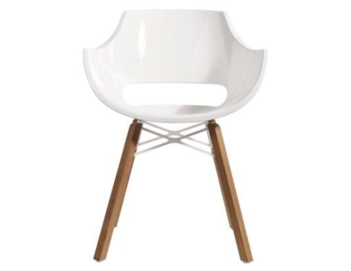 austin dowel leg white shiny lacquer dining tub chair molded fiberglass polypropylene