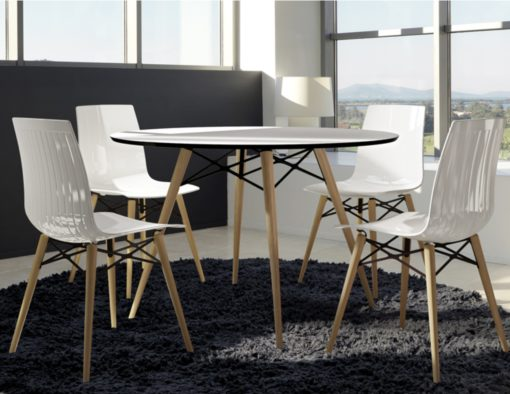 auteur fine dining chair white shiny lacquer colors restaurant hotel contract country club spa home molded polypropylene dowel teak leg fashion design