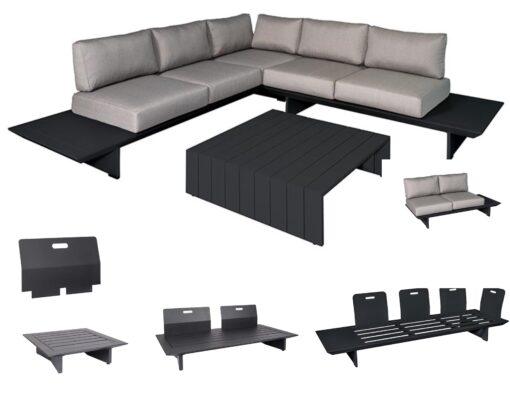 bonn sleek modern teak black white modular elements platform sofa removeable back interchange design