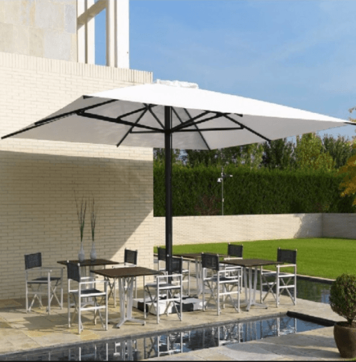 Adonis Luxury Shade Commercial Hospitality Control Remote up to 15ft Square Rectangular Custom order Resorts Mexico Caribbean California Country Clubs aluminum Sunbrella